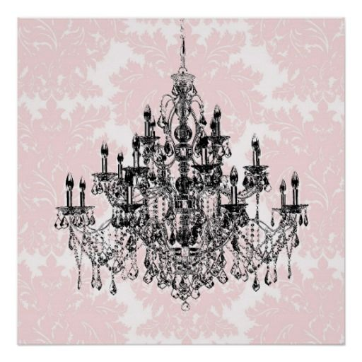 Pink damask chandelier wall art print zazzle throughout chandelier wall art for really encourage