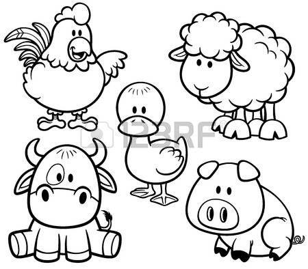 Ilustración vectorial de conjunto granja Cartoon Animals - Libro de ...