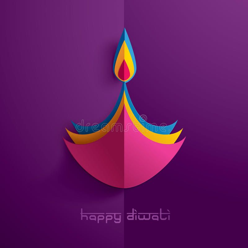 Happy Diwali. Paper Graphic Of Indian Diya Oil Lamp Design. Stock Vector - Illustration of decorative, lights: 98637325