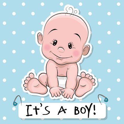 Cute cartoon baby boy vector art illustration | baby cards ...