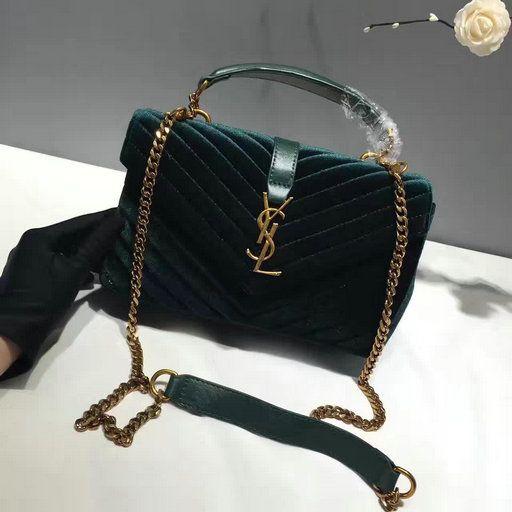 82e372540a 2016 A W Saint Laurent Medium College Bag in Dark Green Velvet and Leather  Ysl