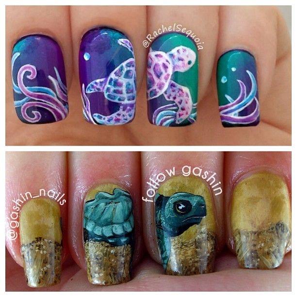 #nailart Turtles by @gashin_nails #nails