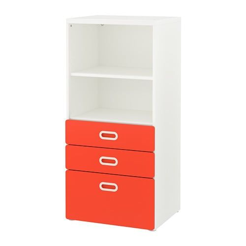 Stuva Fritids Bookcase With Drawers White Light Pink