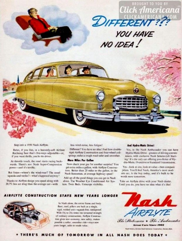 New Nash Airflyte construction for 1950's most modern cars – Click Americana