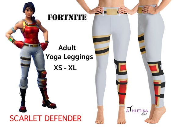 6cd0a9092948d6 Scarlet Defender Fortnite Battle Royale Adult Yoga Leggings Cosplay Costume  Outfit Video Game Skin S