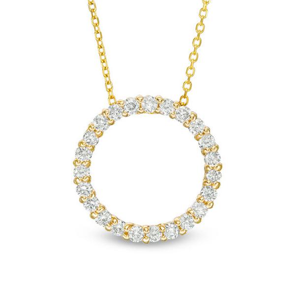 1 2 Ct T W Certified Diamond Circle Pendant In 14k Gold H I1 Diamond Necklace Designs Pendants