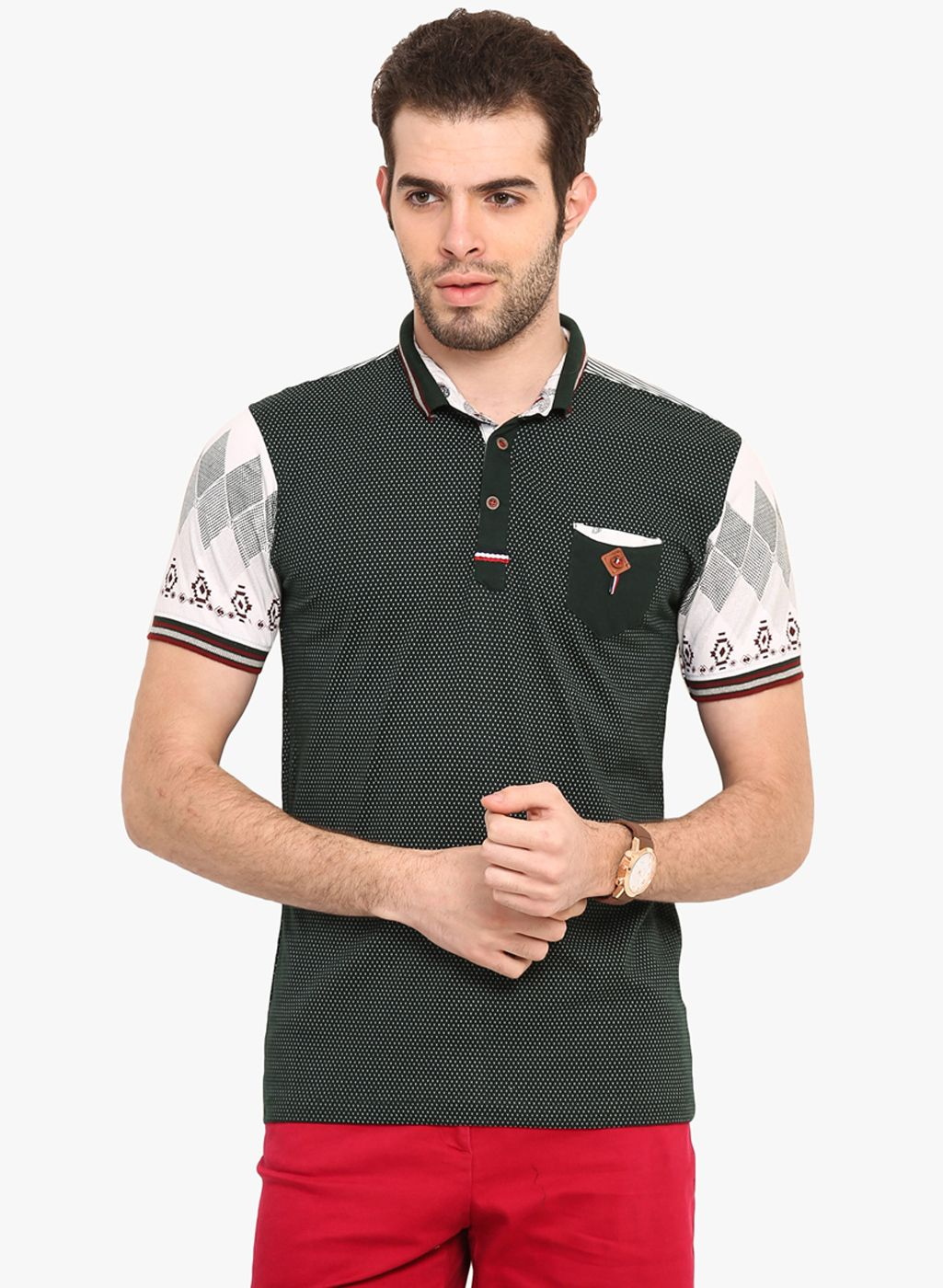 aa5f867a8 Buy Mode Vetements Black Printed Polo T-Shirt for Men Online India ...