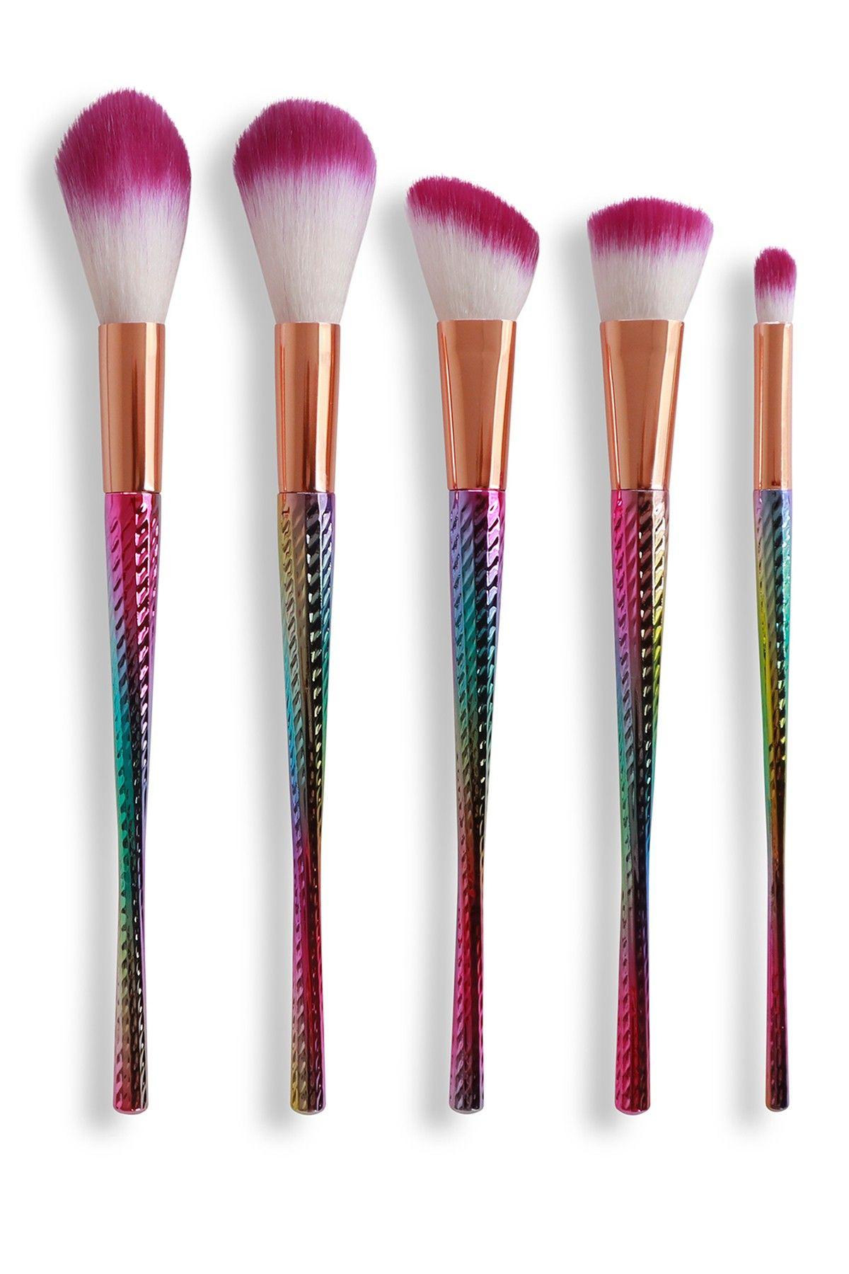 FaceBase Elegant 5Piece Makeup Brush Set Rainbow
