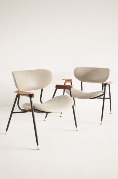 Gastone Rinaldi Leather Armchairs Italy 1950s Furn And