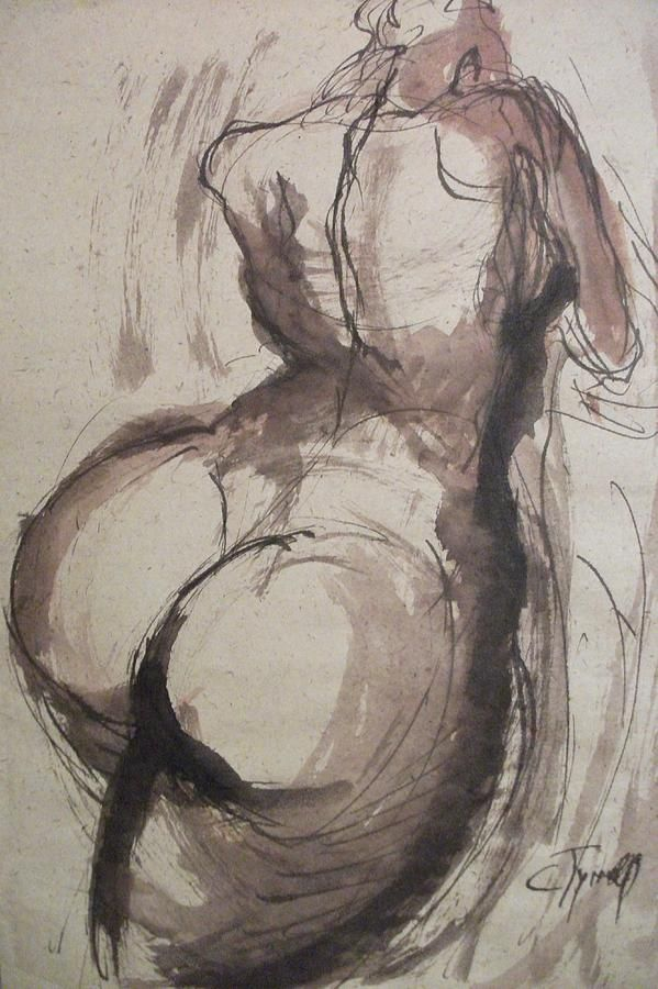 Full Figure Sketch Of A Female Nude Painting By Carmen Tyrrell