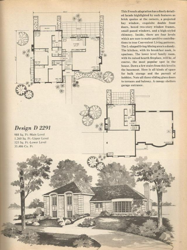 vintage house plans mid century homes multi level home plans - Multi Level Home Plans
