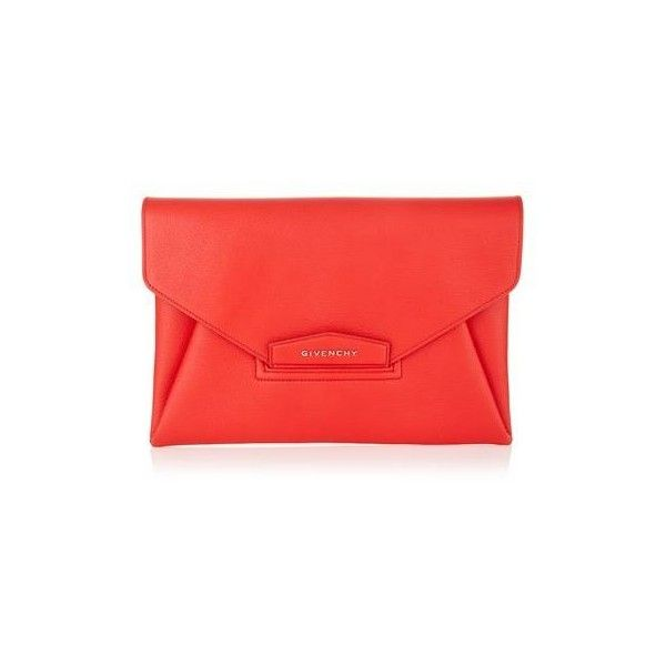 Givenchy Antigona Grain Envelope Clutch (£820) ❤ liked on Polyvore featuring bags, handbags, clutches, special occasion handbags, givenchy, red purse, evening clutches and envelope evening clutch