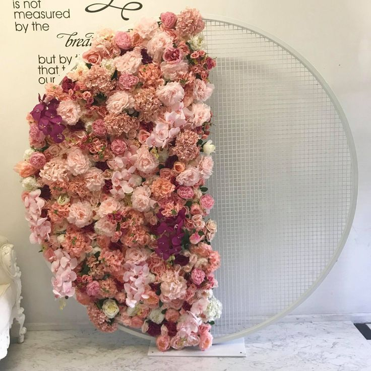 Photo of Pink Floral Round Mesh Screen