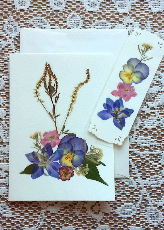PRESSED FLOWERS Greeting Card and Bookmark Gift Set - Colorful - flores secas
