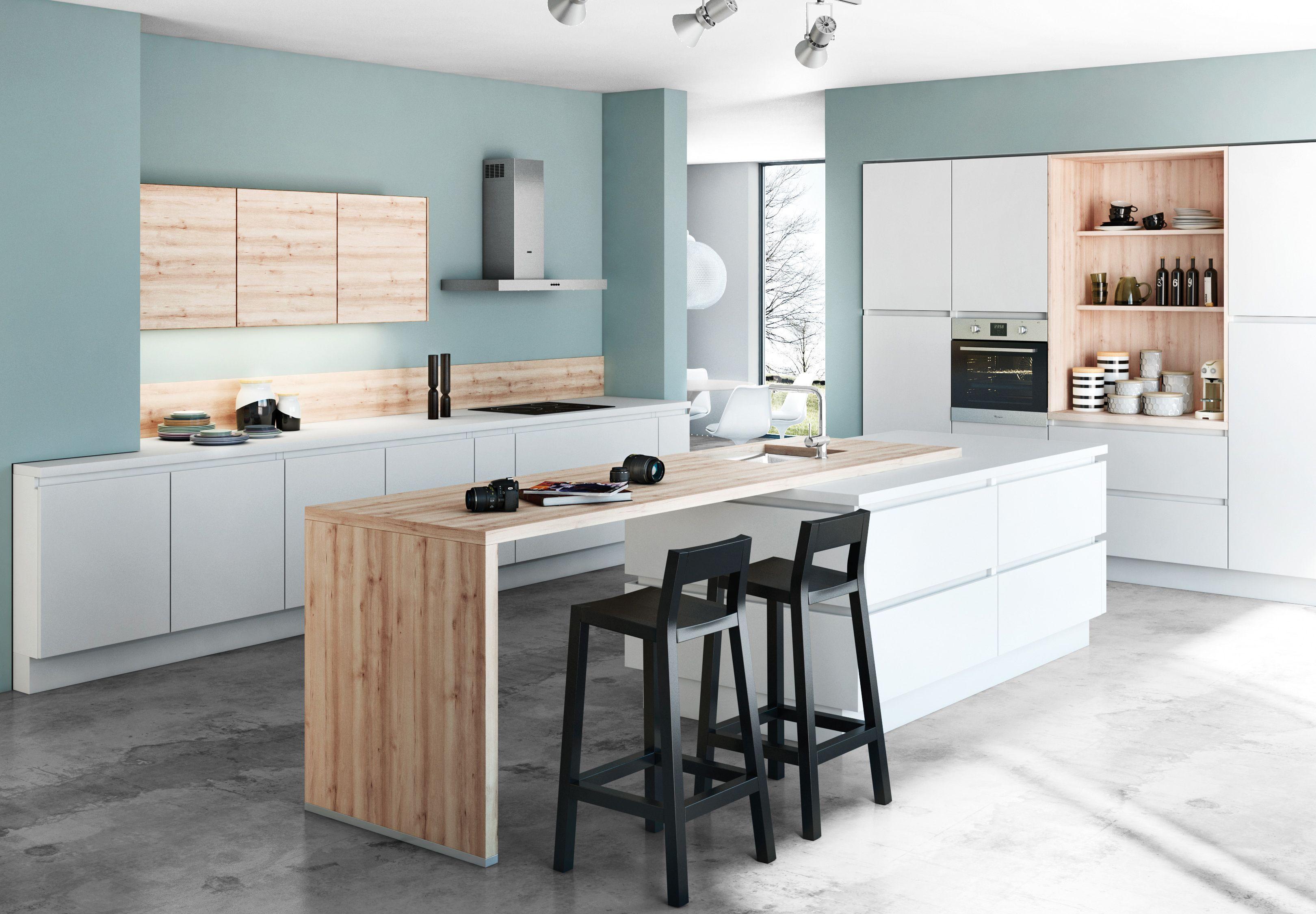 Cuisine Blanche Et Bleu très belle cuisine blanche et bois aux touches de bleu gris