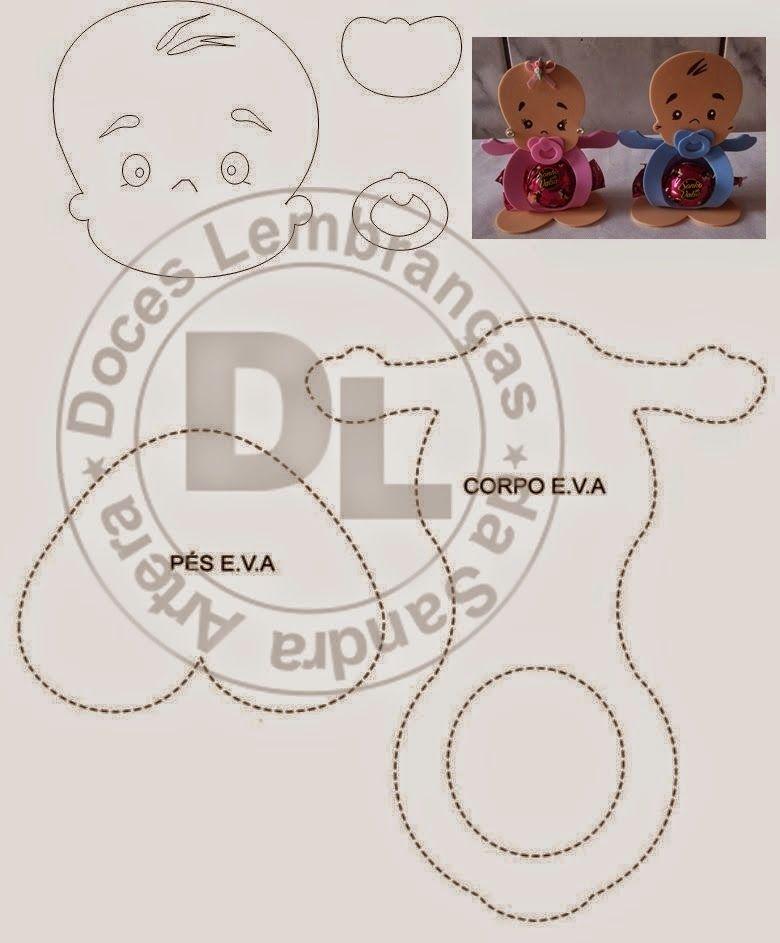 Amigas, garimpando pela internet, encontrei esse molde fofo de lembrancinha  para chá de bebê ou para maternidade, fácil de fazer, pode ser.