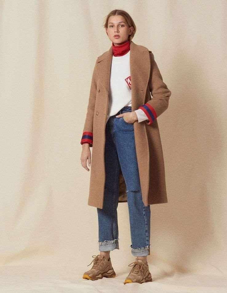 Manteau long gris femme pas cher