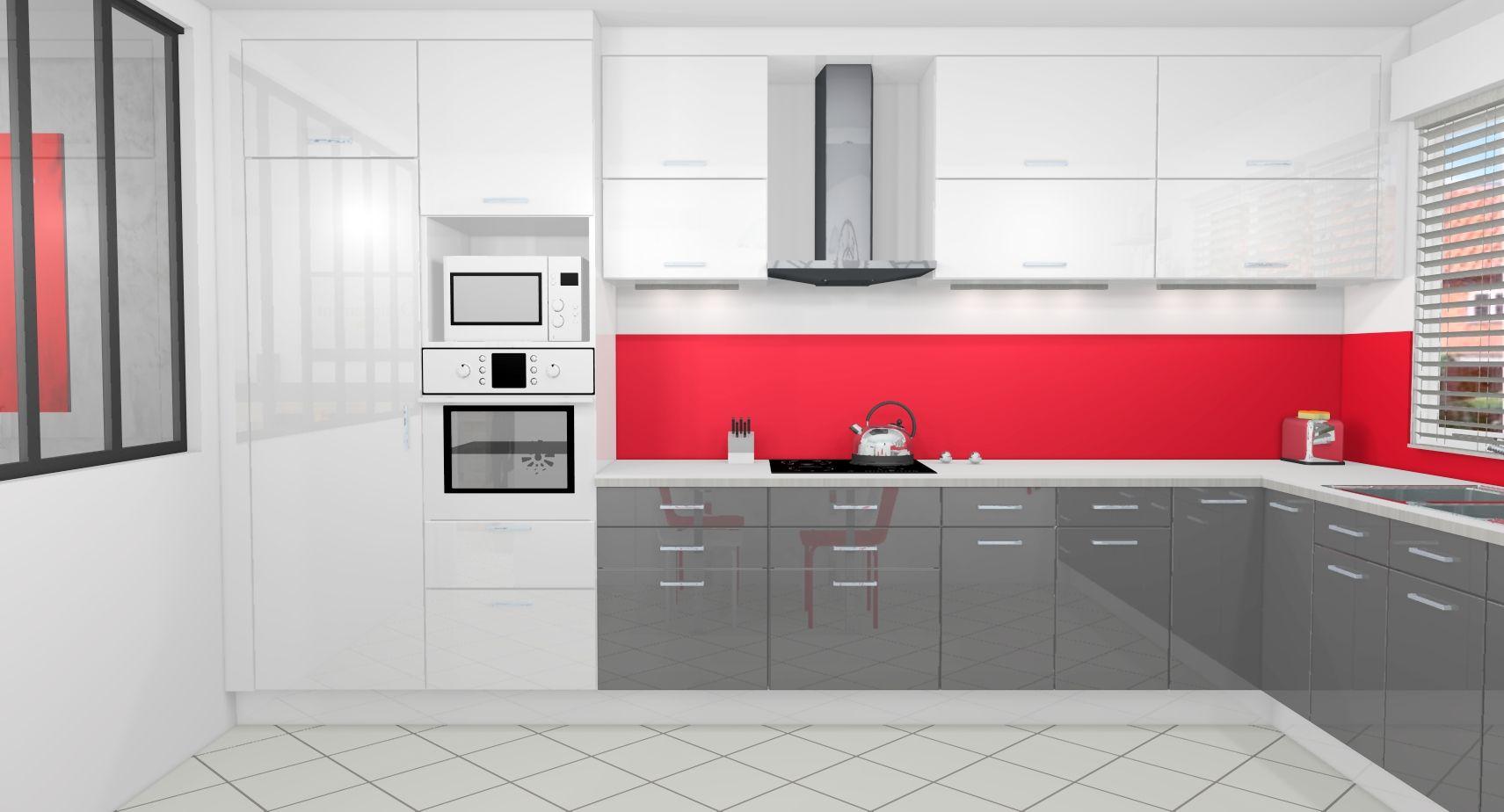 intérieur rouge et blanc | Indogate.com | Cuisine Gris Anthracite Et ...
