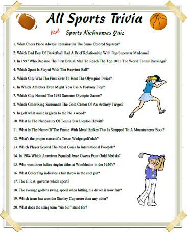 This Sports Trivia Covers Many Different Sports Come Prepared Trivia Sports Trivia Games Sports