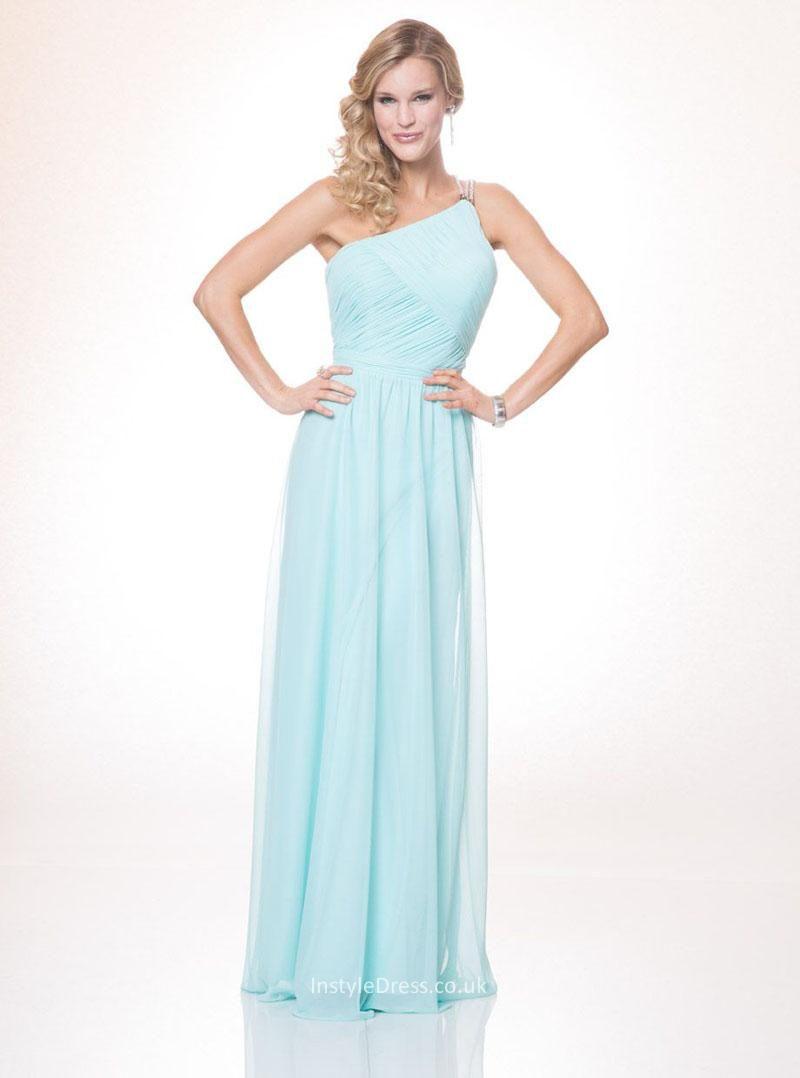 One shoulder backless princess long aqua blue chiffon prom dress a