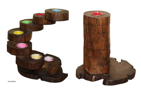 Rustic Tea Light Holder made from teak wood by SiamStyles on Etsy, $35.90