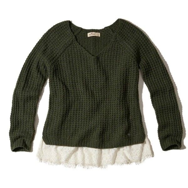 Hollister Lace Hem Sweater ($27) ❤ liked on Polyvore featuring tops,  sweaters,