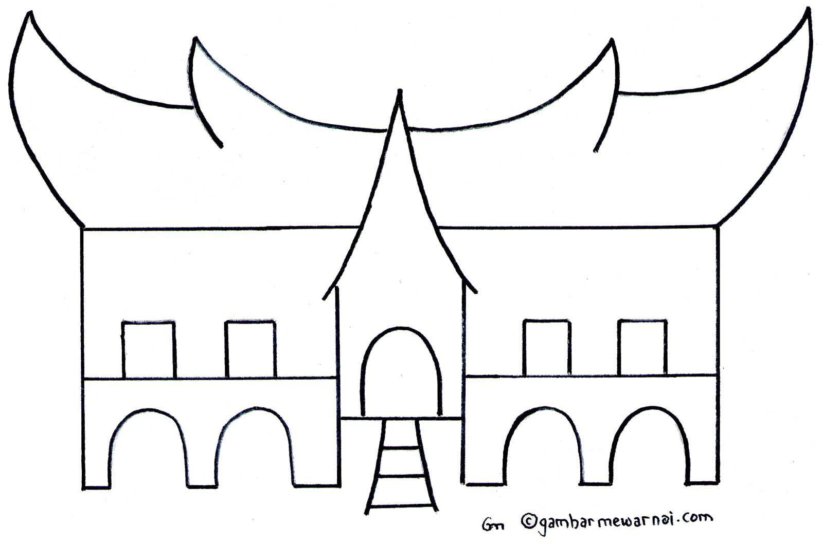 Gambar Mewarnai Rumah Adat Toraja