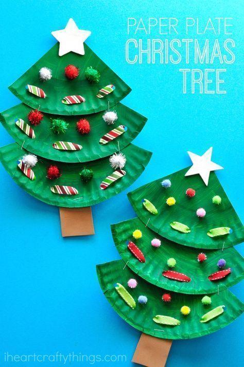 Photo of Fun paper plate Christmas tree craft for kids, preschool Christmas crafts, Christmas fine mot…
