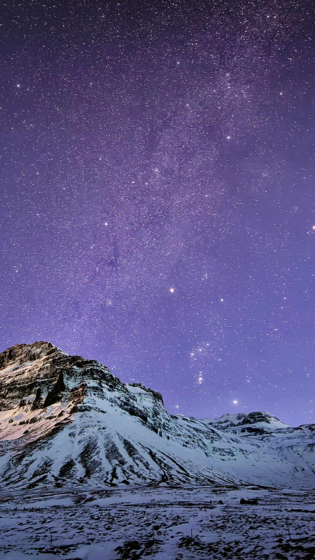 Snow Mountain Stars Skyscape Iphone 7 Wallpaper