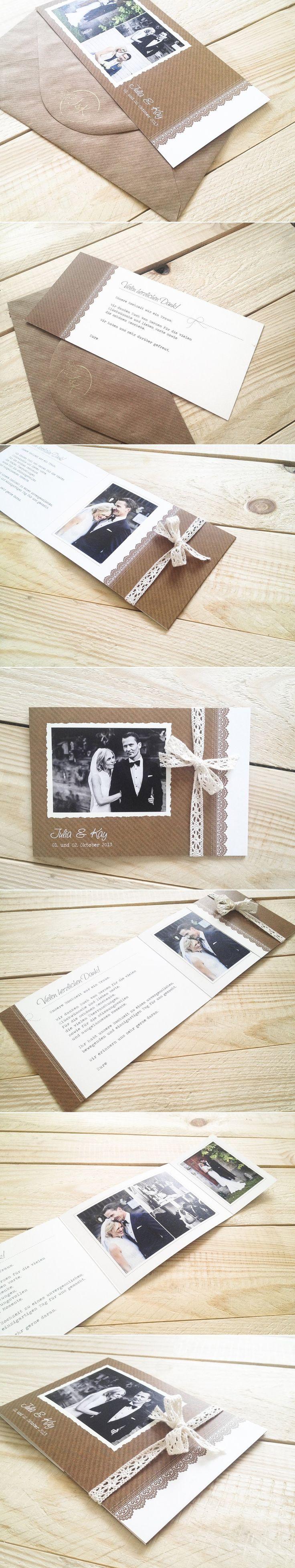 Danksagungskarten in Rustik Schick mit Fotolasche