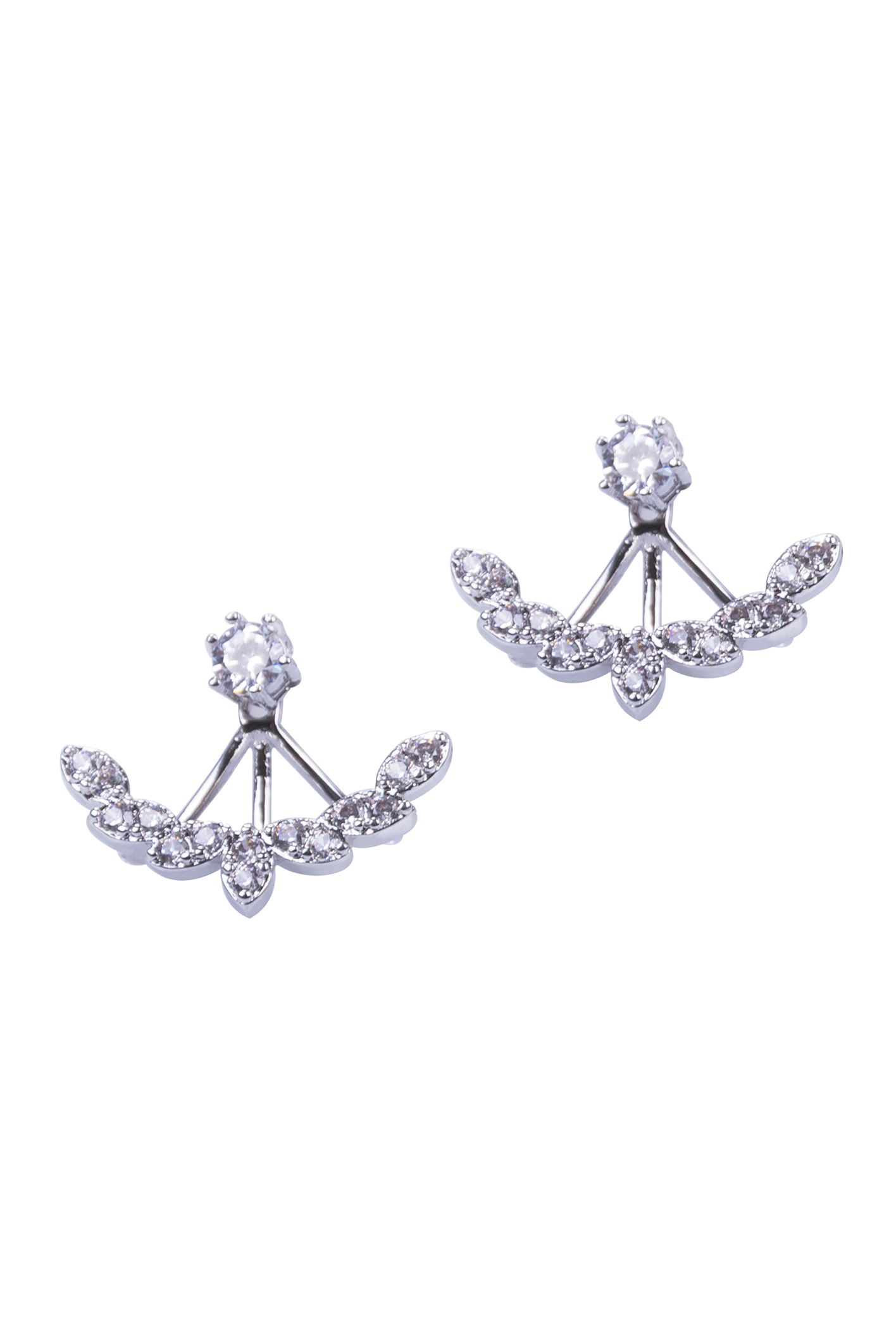 Silver Olive Leaf With Zircons Two Sided Earings Women Fashion . Fashion Jewlery.   Made of Rhodium With Nickel.  sku: 18022