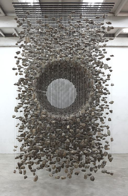 Suspended stone installations by Jea-Hyo Lee