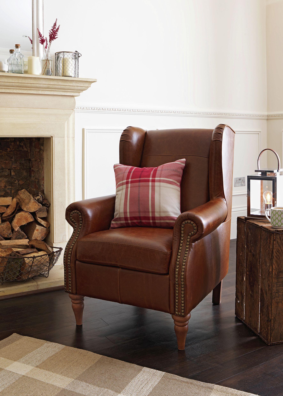 Buy Argos Home Argyll Studded Leather High Back Chair - Tan