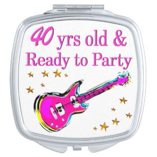 ROCK N ROLL 40TH VANITY MIRROR http://www.zazzle.com/jlpbirthday/gifts?cg=196901469086304704 #40thbirthday #40yearsold #Happy40thbirthday #40thbirthdaygift #40thbirthdayideas