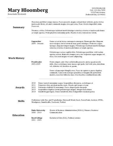 Resume Templates For Wordpad Goldfish Bowl  Free Resume Templatehloom  Education