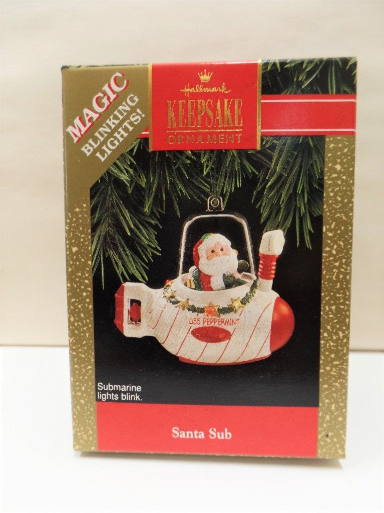 Submarine Christmas 2020 Hallmark Santa Sub Lighted Christmas Ornament 1992 NOS NRFB