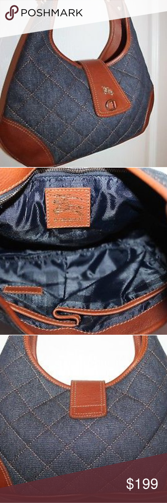 90afcf3e2170 Burberry Small Quilted Denim Bag Burberry Quilted Denim Bag Brown Leather  Trim Flap Snap Closure Interrior Zipper Pocket and two open pockets great  ...