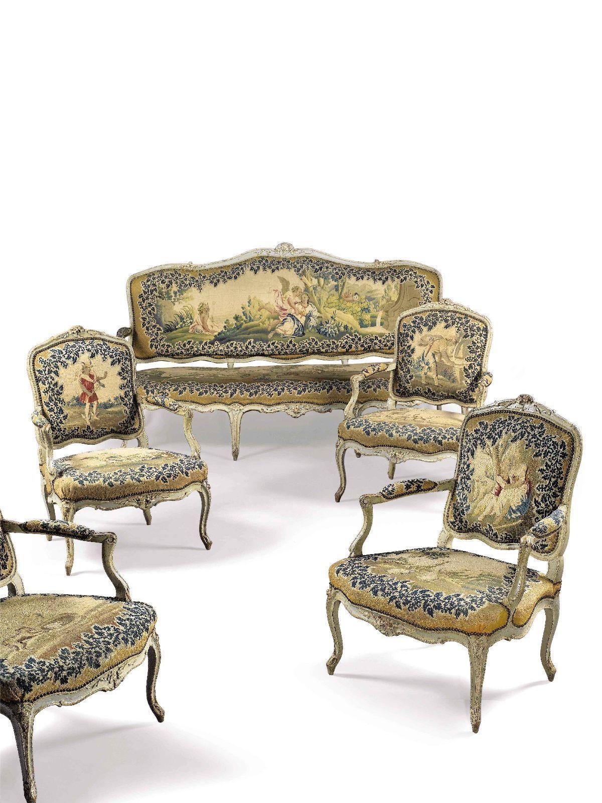 Brochure mobilier de salon compos d un canap et de quatre fauteuils d poque louis xv couverts for Canape et salon