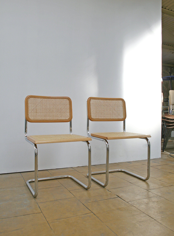Pair of Vintage Marcel Breuer Style Cesca B32 Tubular