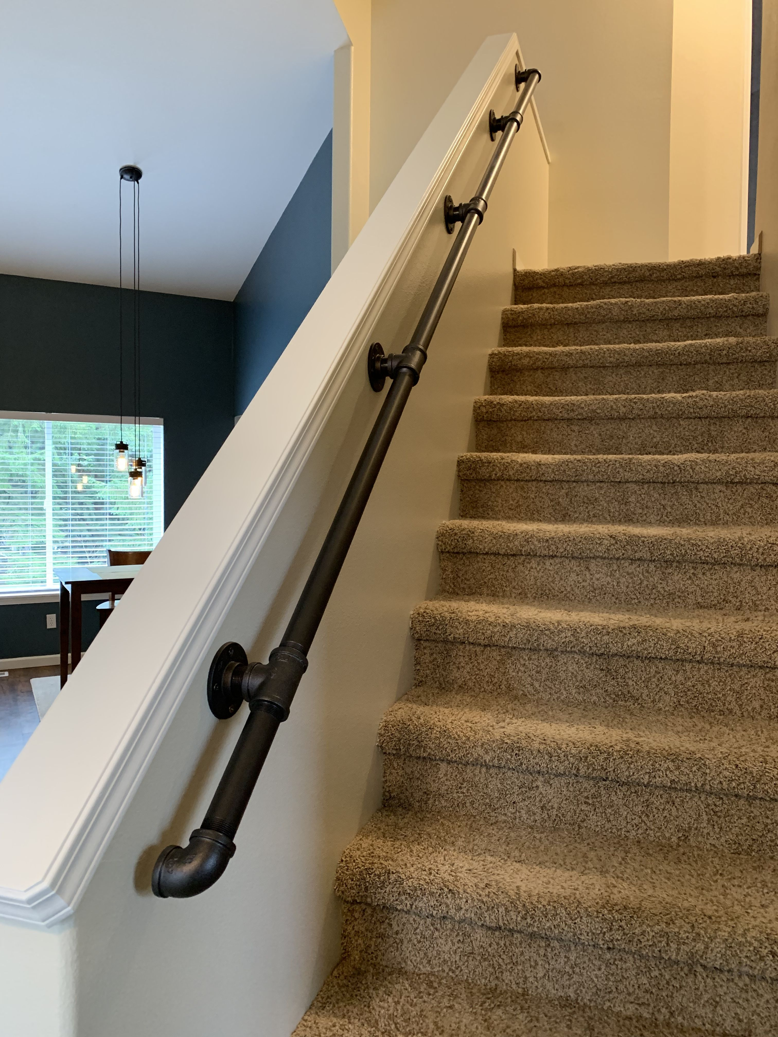 Pin On The Money Pit I Call Home   Black Iron Pipe Stair Railing   Staircase Railing   Industrial Style   Deck   Steel Pipe   Reclaimed Wood