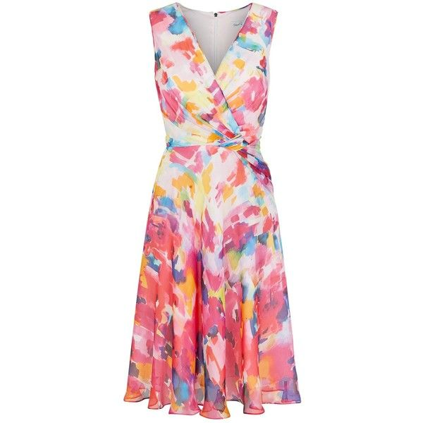 Damsel in a dress Impressionist Dress, Multi (510 BRL) found on Polyvore featuring women's fashion, dresses, wrap maxi dress, pink mini dress, maxi dress, pink midi dress and skater skirt