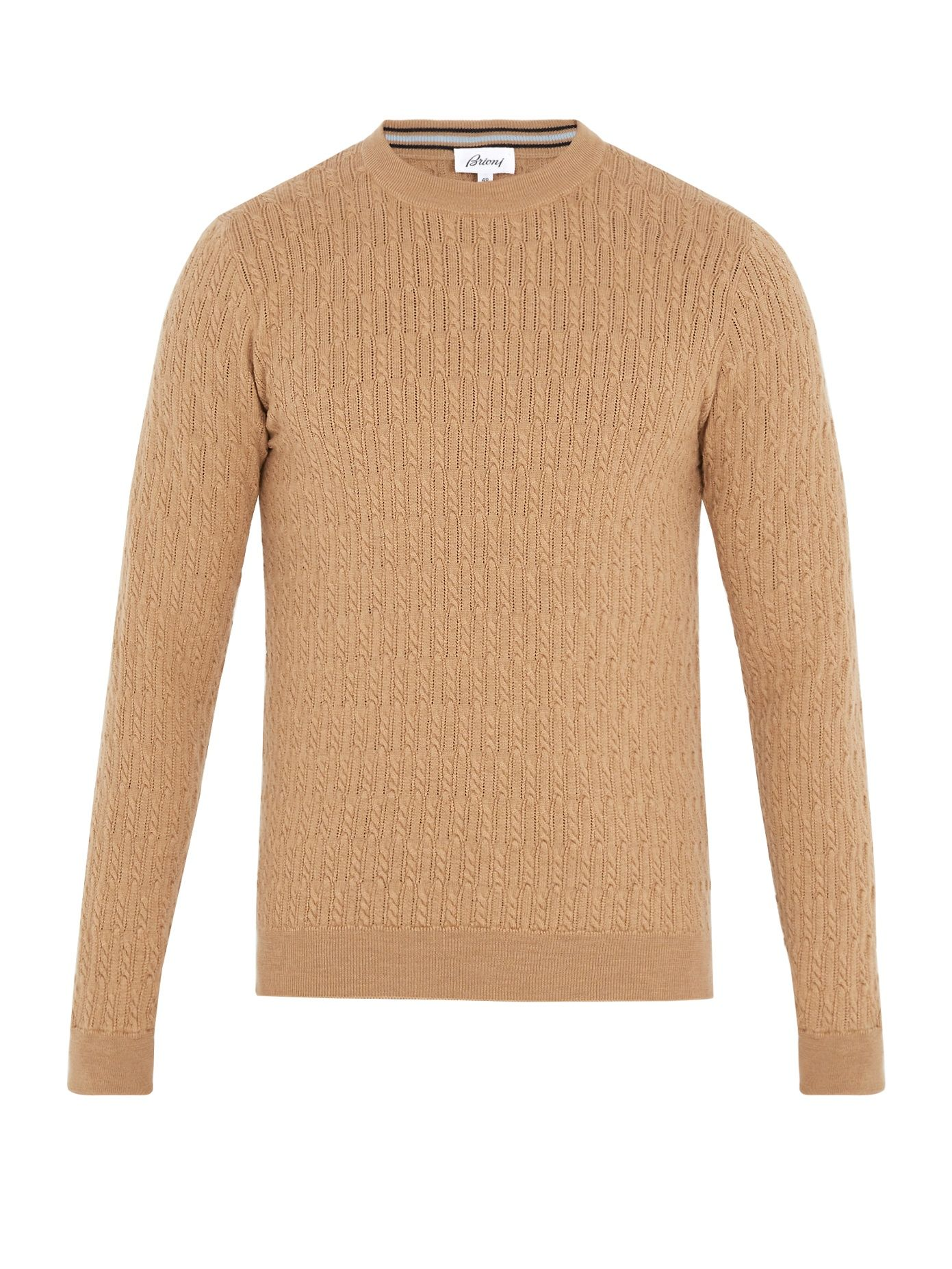 Cable Knit Wool Sweater Brioni Matchesfashion Us Sweaters Knitwear Men Cool Sweaters [ 1855 x 1391 Pixel ]