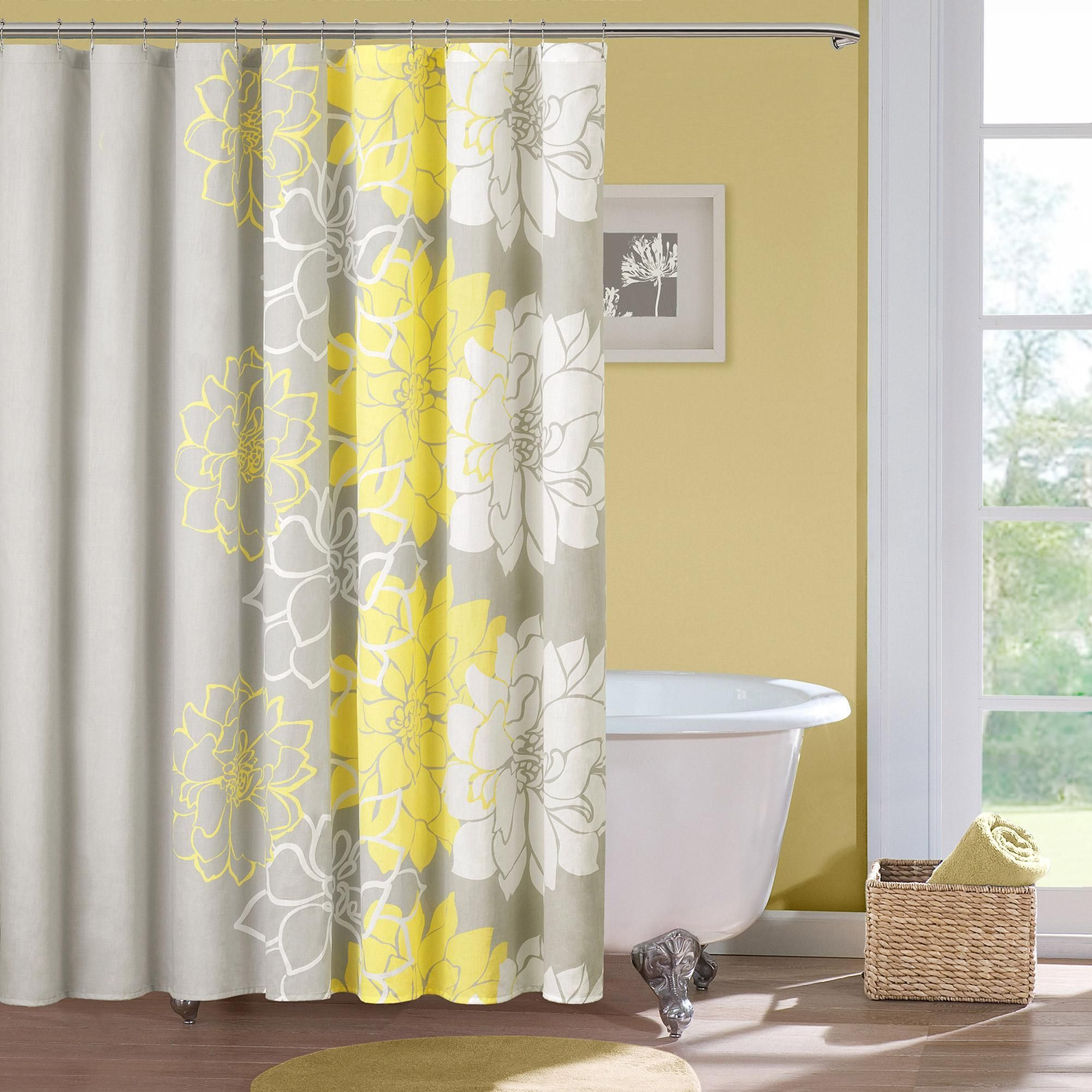 Navy Blue And Yellow Floral Shower Curtain