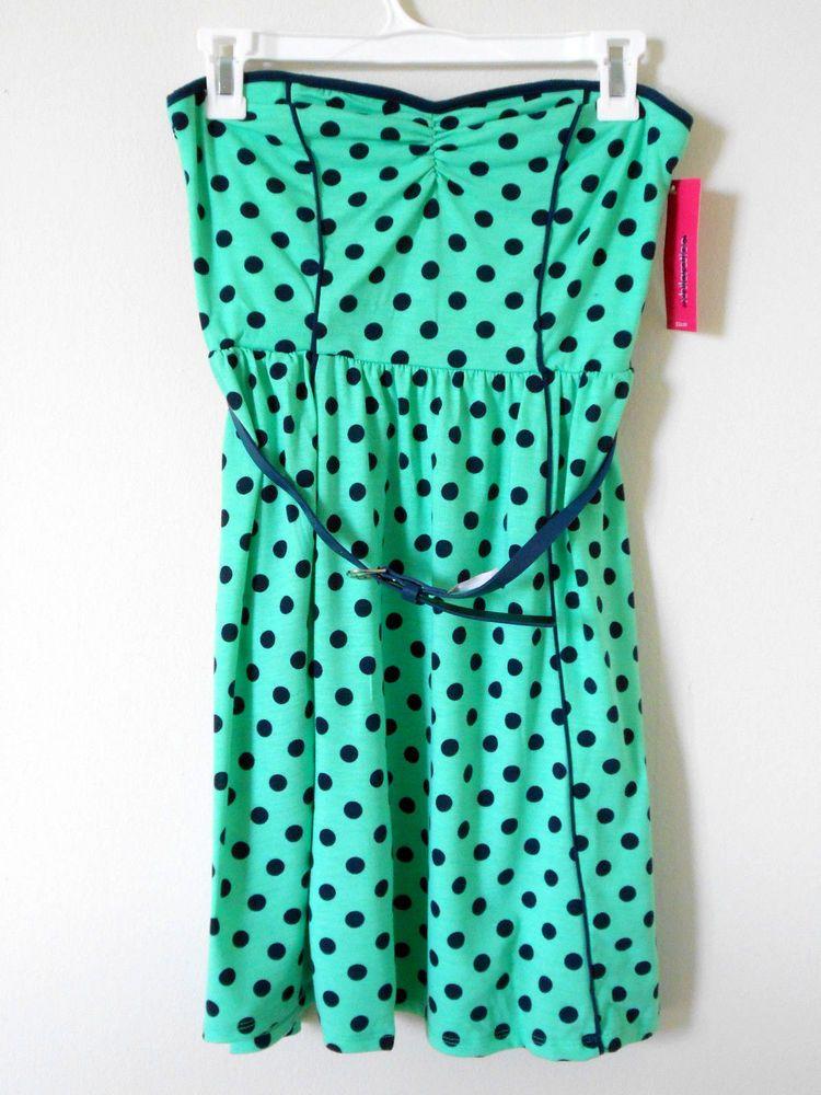 Xhilaration Green & Black Polka Dots Strapless Dress Sz M Retails $24.99 New Nwt