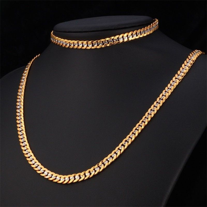 18 Cuban chain jewelry set for men 18k gold stamped 6mm cuban chain