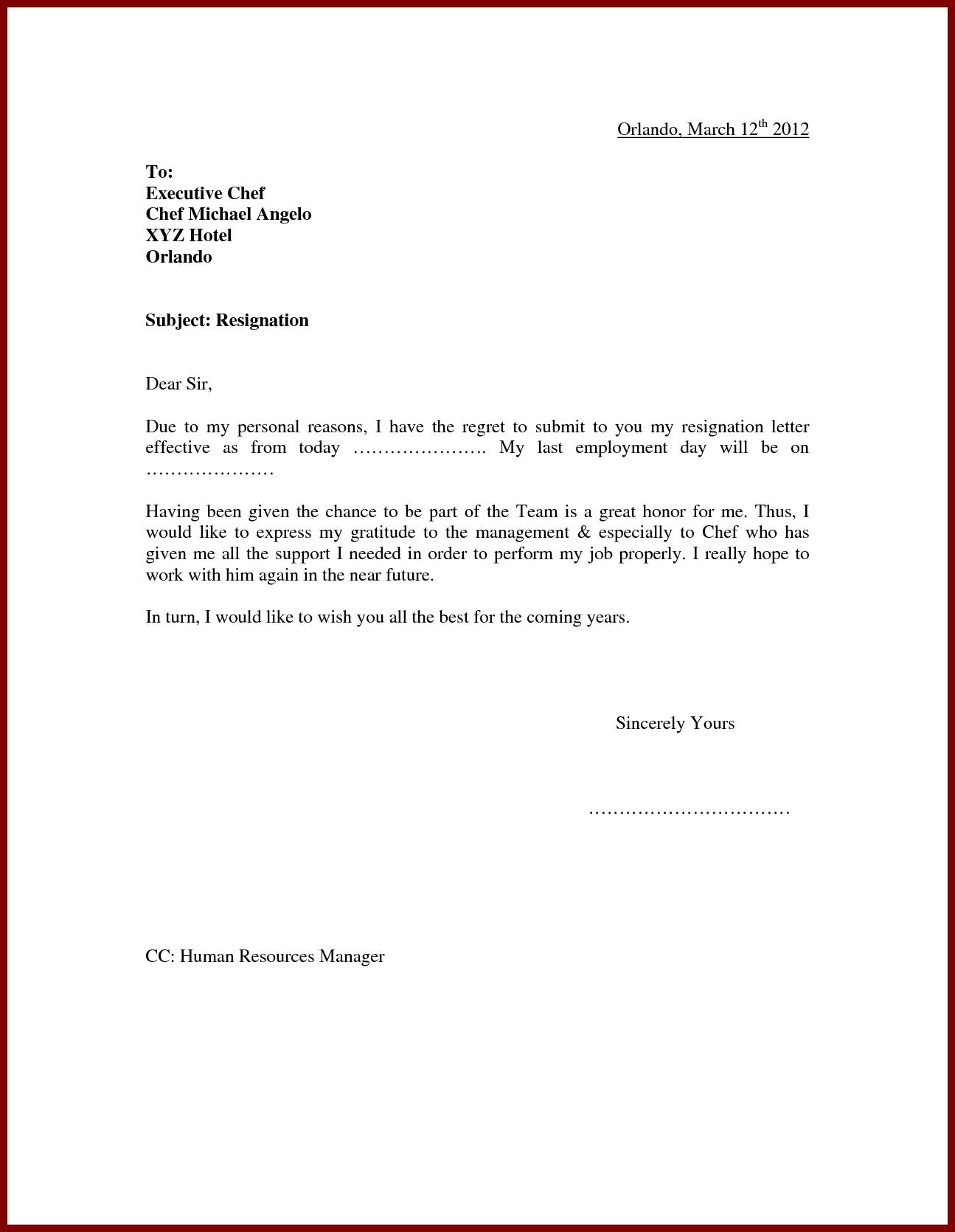 Simple Resignation Letter Sample For Personal Reasons