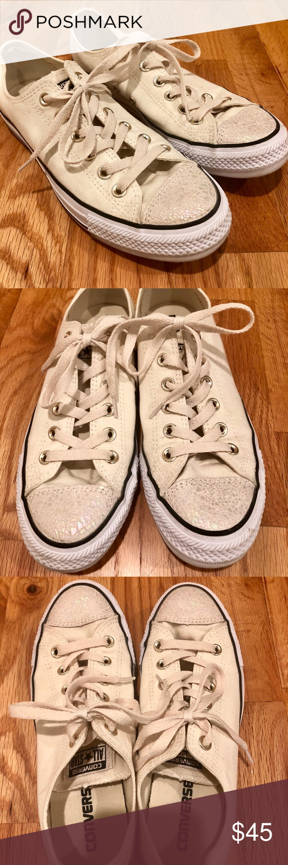 """275e4d0434b8 Converse Allstar in Ivory Women s 8.5 Cream Ivory with black detail.  Features an """"oil slick"""" toe. Lightly used in great condition."""