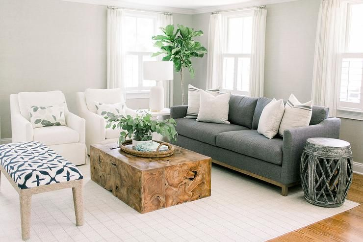 Dark Gray Sofa With Slim Arms Linen Chairs Furniture Selections Wood Block Coffee Table Transitional Li Living Room Grey White Accent Chair Coffee Table