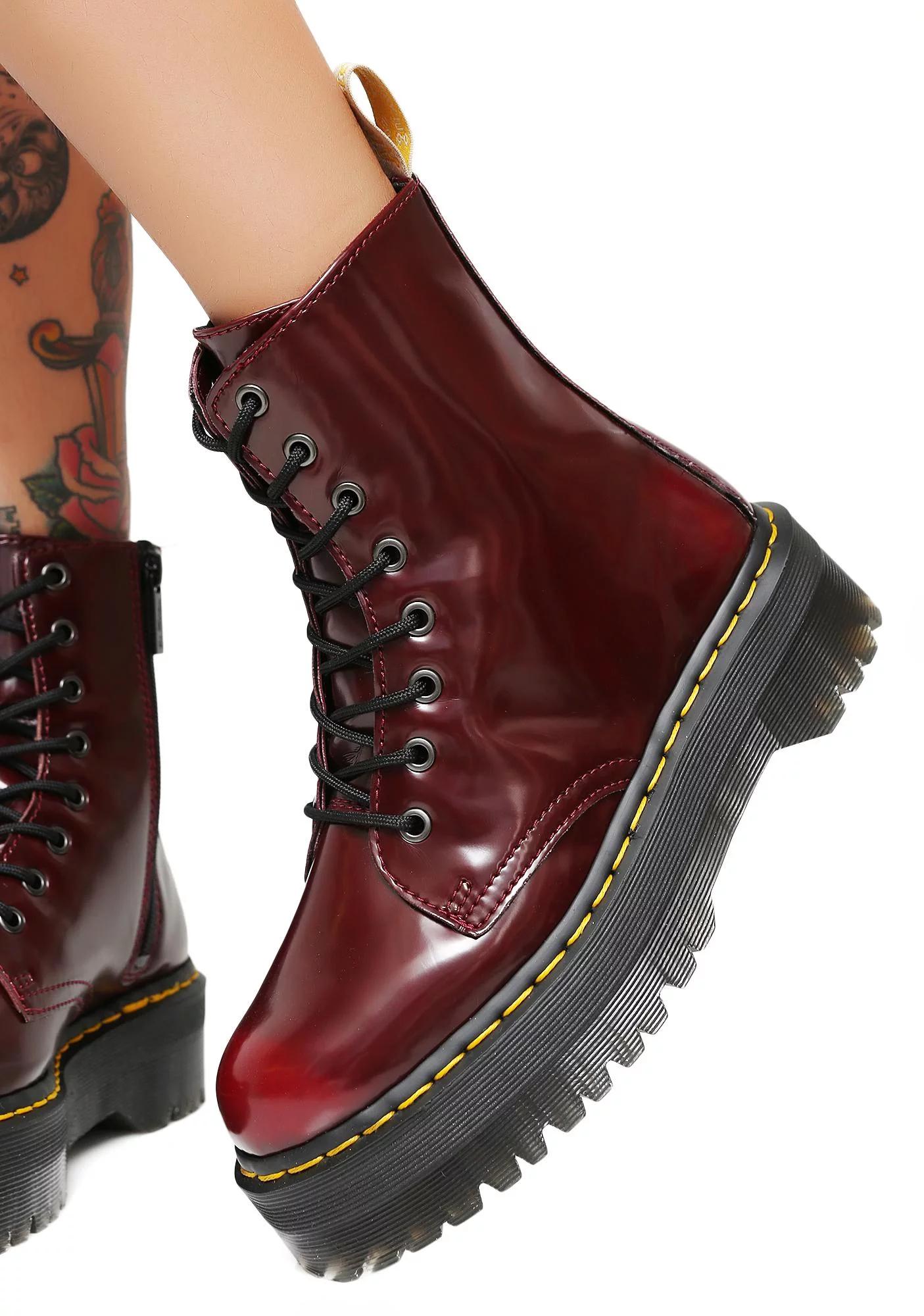 Dr. Martens Cherry Vegan Jadon II Boot | Boots, Punk boots