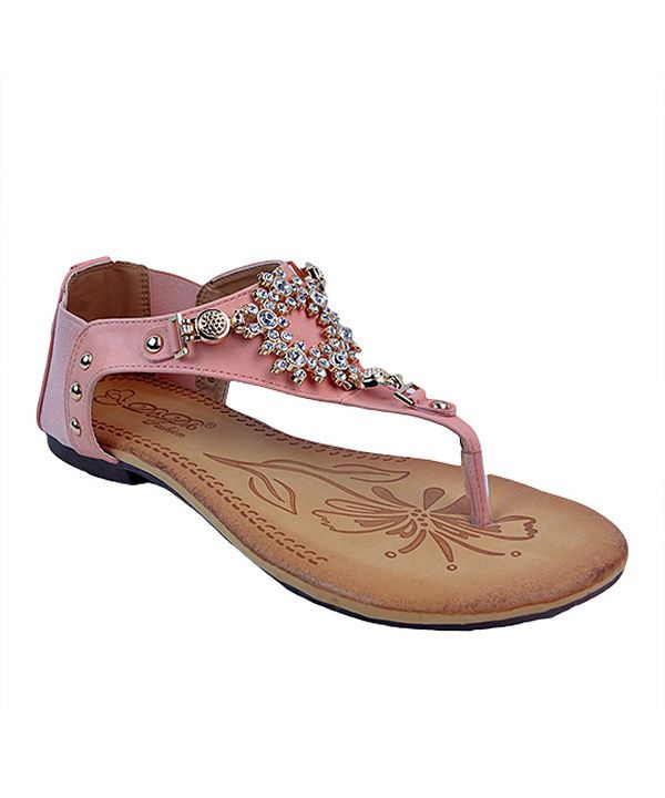 Look at this Off-Pink Rhinestone Belicia Sandal on #zulily today!